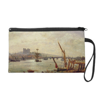 Rochester Cathedral and Castle c 1820-30 oil on Wristlet Clutch