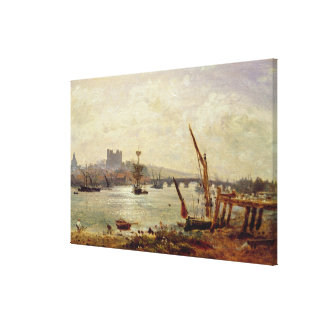 Rochester Cathedral and Castle c 1820-30 oil on Stretched Canvas Prints