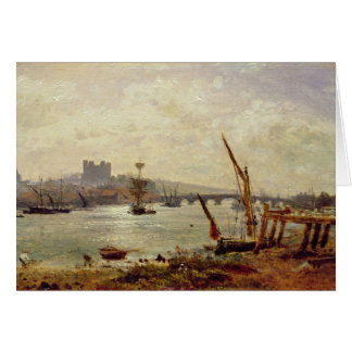 Rochester Cathedral and Castle c 1820-30 oil on Card
