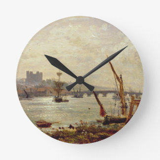 Rochester Cathedral and Castle c 1820-30 oil on Round Clock