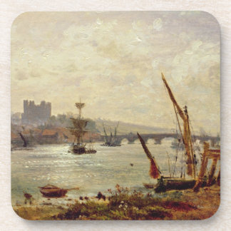 Rochester Cathedral and Castle c 1820-30 oil on Coaster