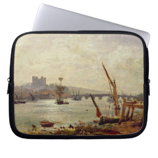 Rochester Cathedral and Castle c 1820-30 oil on Laptop Sleeves