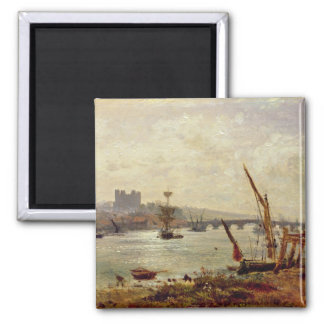 Rochester Cathedral and Castle c 1820-30 oil on Fridge Magnets