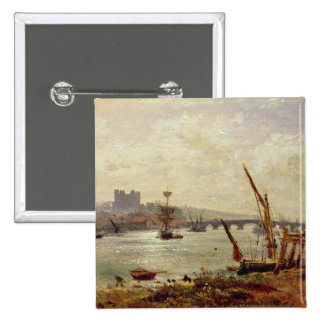 Rochester Cathedral and Castle, c.1820-30 (oil on Pinback Button