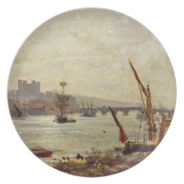 Rochester Cathedral and Castle, c.1820-30 (oil on Plate