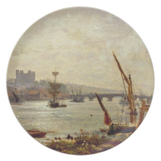 Rochester Cathedral and Castle c 1820-30 oil on Plate