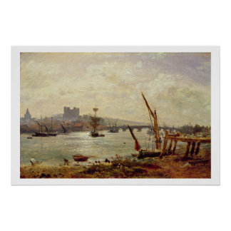 Rochester Cathedral and Castle c 1820-30 oil on Posters