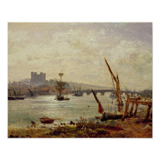 Rochester Cathedral and Castle, c.1820-30 (oil on Posters