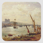 Rochester Cathedral and Castle, c.1820-30 (oil on Sticker