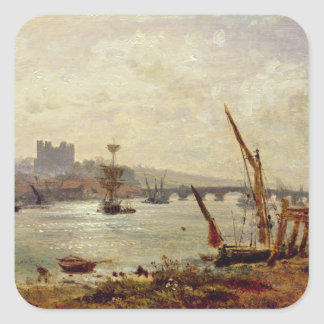 Rochester Cathedral and Castle c 1820-30 oil on Sticker