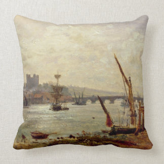 Rochester Cathedral and Castle, c.1820-30 (oil on Throw Pillow