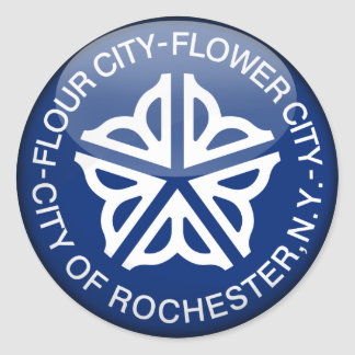 Rochester Flag Glass Ball Classic Round Sticker