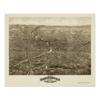 Rochester, mapa panorámico de NY - 1880 Poster