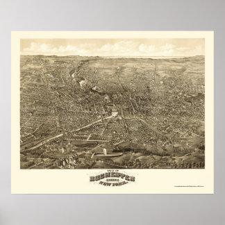 Rochester, mapa panorámico de NY - 1880 Póster