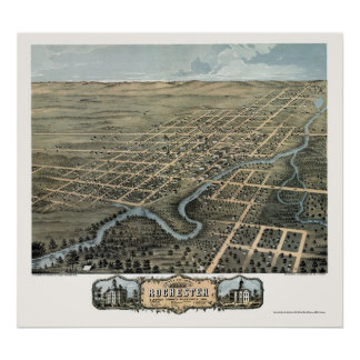 Rochester, mapa panorámico del manganeso - 1869 póster