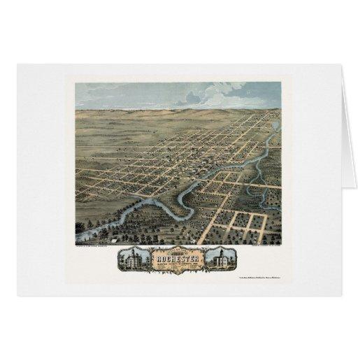 Rochester, mapa panorámico del manganeso - 1869 tarjeta de felicitación