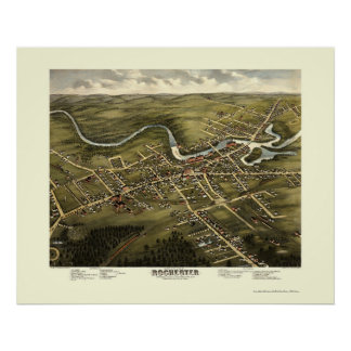 Rochester, mapa panorámico del NH - 1877 Póster