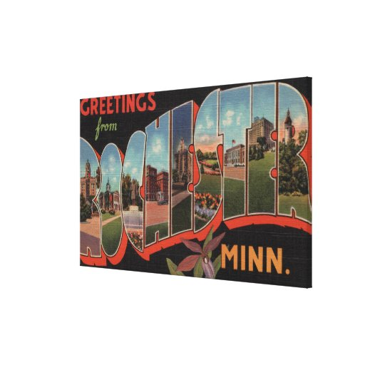 Rochester, Minnesota - Large Letter Scenes 2 Gallery Wrap Canvas