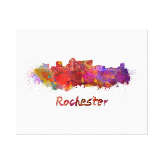 Rochester MN skyline in watercolor Canvas Print