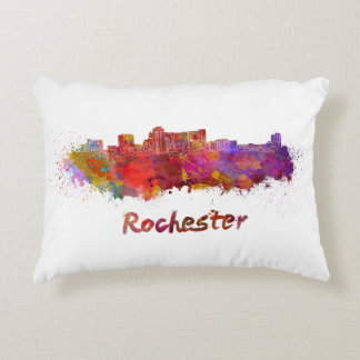 Rochester MN skyline in watercolor Decorative Pillow
