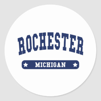 Rochester New York College Style tee shirts Classic Round Sticker
