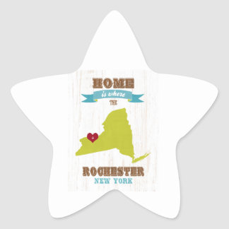 Rochester, New York Map – Home Is Where The Heart Star Sticker