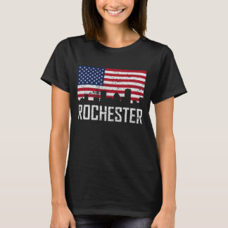 Rochester New York Skyline American Flag Distresse T-Shirt