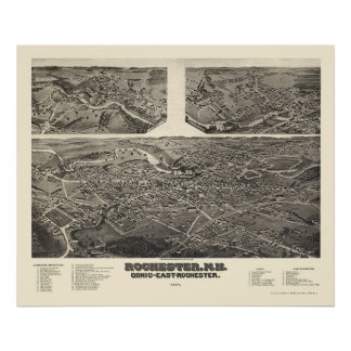 Rochester, NH Panoramic Map - 1884 Poster