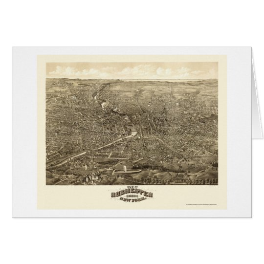 Rochester, NY Panoramic Map - 1880 Card