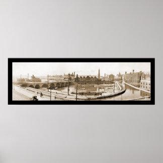 Rochester, NY River Photo 1914 Print