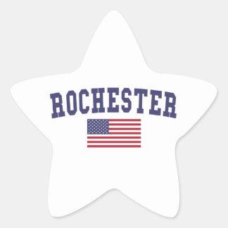 Rochester NY US Flag Star Sticker