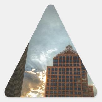 Rochester Skyline in HDR Triangle Sticker