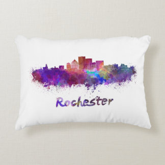 Rochester skyline in watercolor accent pillow