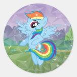 Rociada del arco iris pegatina redonda
