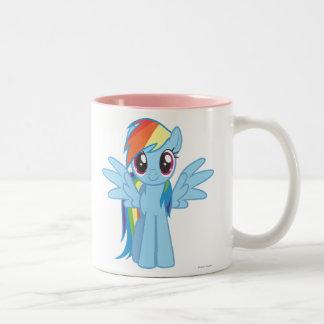 Rociada del arco iris taza de café de dos colores