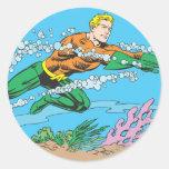 Rociadas de Aquaman a través del agua Pegatinas Redondas