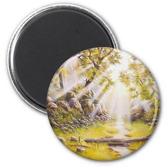 Rocío de la mañana de la pintura al óleo imanes de nevera