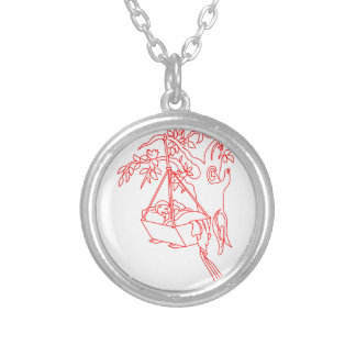 Rock-a-Bye Baby Round Pendant Necklace