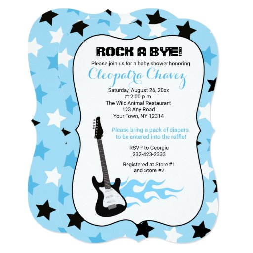 Rock a Bye Blue Rock Star Guitar Baby Shower Card