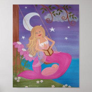 Rock A Bye - Mother Baby Mermaids Girls Kids Art Print