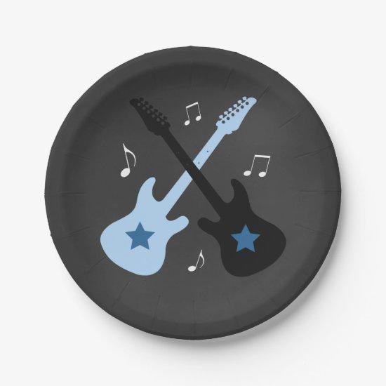 Rock a Bye Rock star Baby Shower Paper Plate
