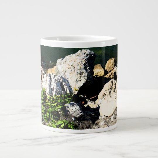 Rock abstract with green plant painterly large coffee mug