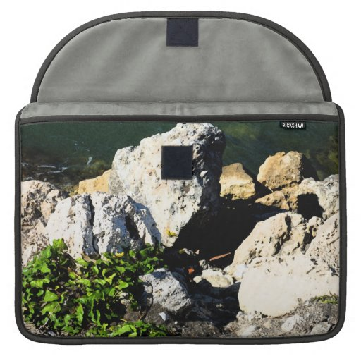 Rock abstract with green plant painterly sleeves for MacBooks