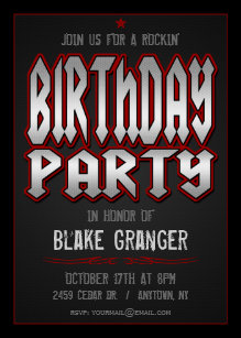 Rock And Roll Birthday Party Invitation