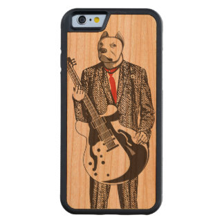 rock and roll bulldog wearing suit playing guitar carved® cherry iPhone 6 bumper case