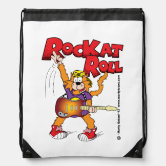 Rock and Roll Cat Knapsack Backpacks