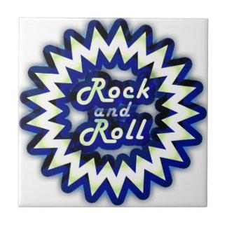 Rock-and-roll de neón azulejo cuadrado pequeño