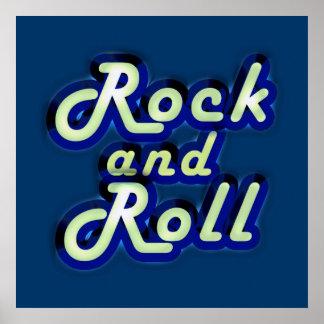 Rock-and-roll de neón póster