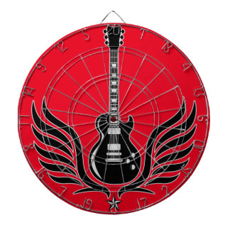 rock and roll electric guitar wings dartboard