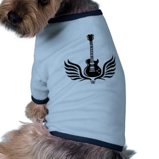 rock and roll electric guitar wings pet t shirt